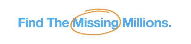 Find the Missing Millions logo blue text